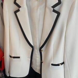White with black trim blazer from Tahari